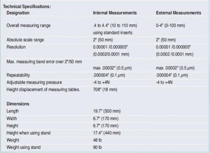 Brown and Sharpe Tesa Horizontal Measuring Bench tech specs