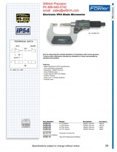 Fowler Electronic IP54 Blade Micrometer