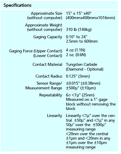 Mahr Federal Gage Block Comparator 130B-16 tech specs