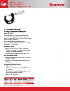 Starrett 210 Screw Thread Comparator Micrometer