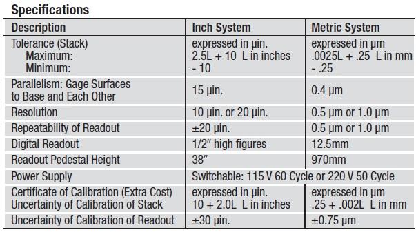 Starrett Webber DIGI-CHEK II, Digtial Long Range Height Master tech specs