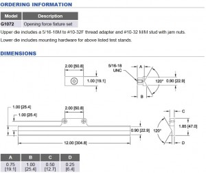 Mark-10 opening force fixture