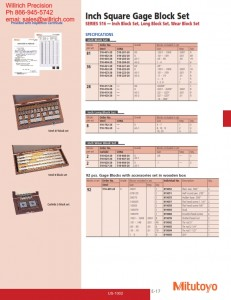 Mitutoyo Square STEEL Gage Block Sets Inch