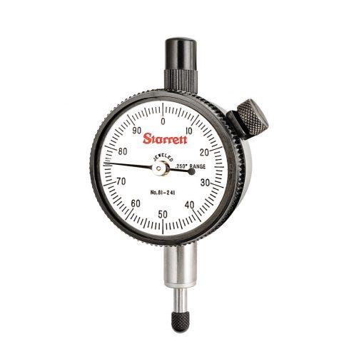 Starrett 81 241J Dial Indicator, Range .250 inch, .001, 0 100 dial