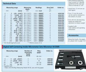 Technical Specs for Mahr Digital Self-Centering Inside Micrometer Micromar 44 EWR