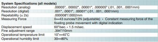 Fowler Horizon Premium Length Measuring and Setting Instrument tech specs