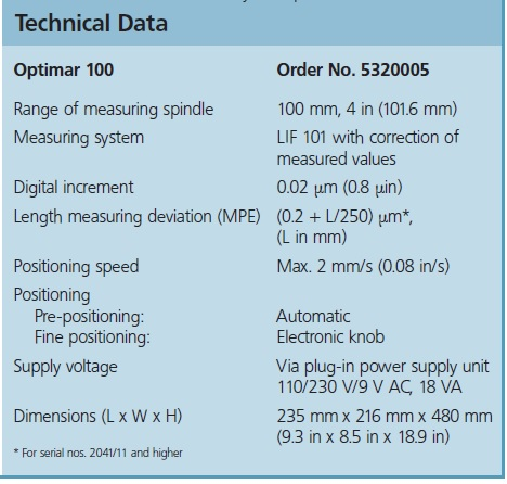 Mahr Optimar 100 Dial Indicators Calibration Device tech info