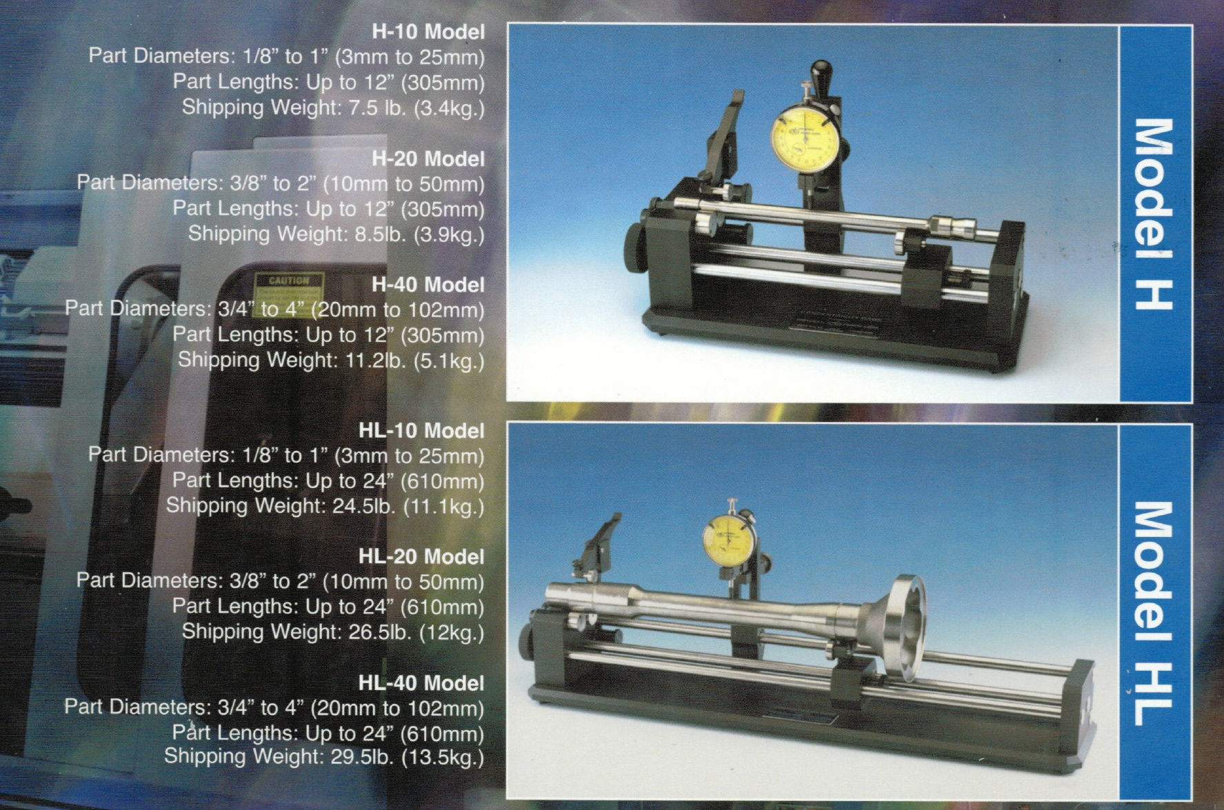 Universal Punch Concentricity Gage Model H Shaft Gage Vertical Carrier