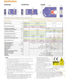 Xactum High Accuracy laser Micrometer technical specs