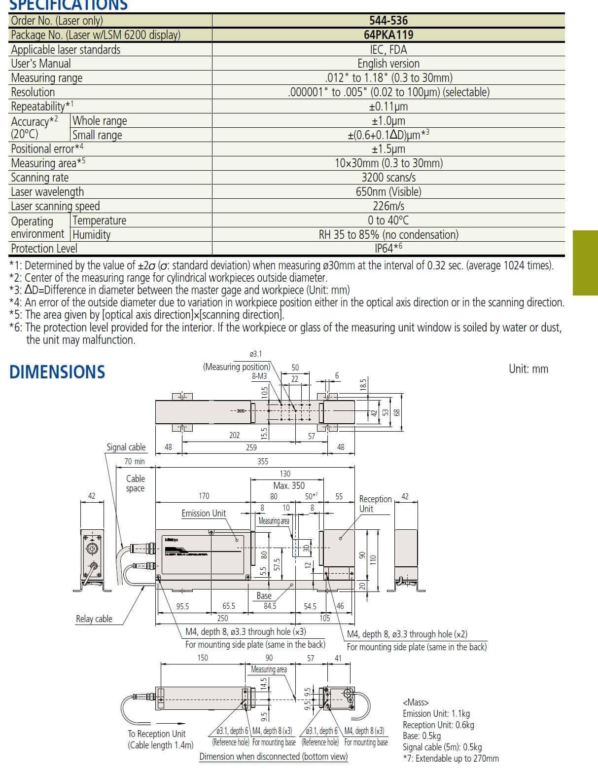 mitutoyo lsm-503s laser micrometer
