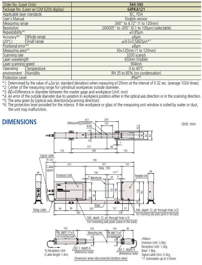 mitutoyo lsm-512s laser micrometer