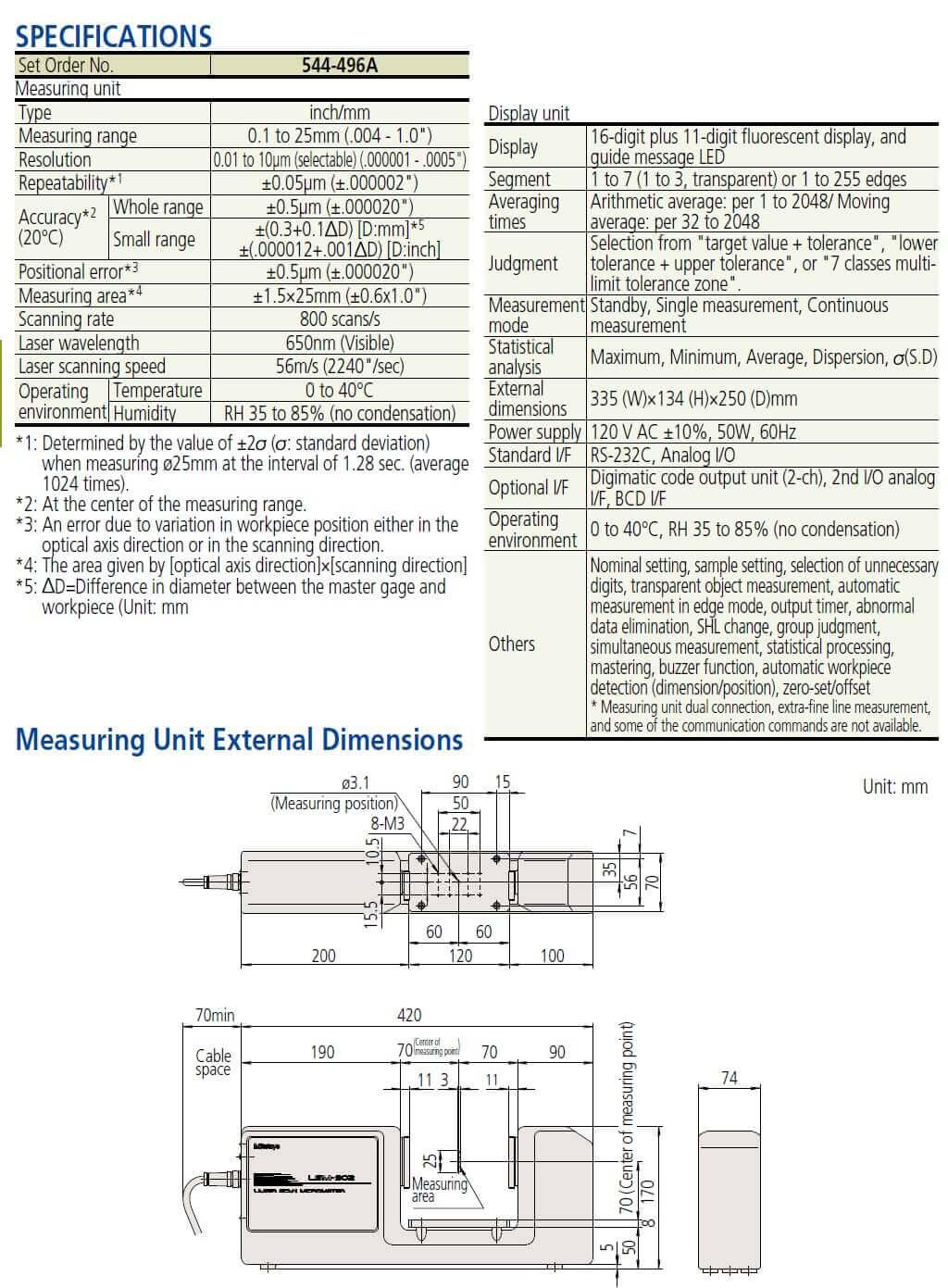 mitutoyo laser micrometer