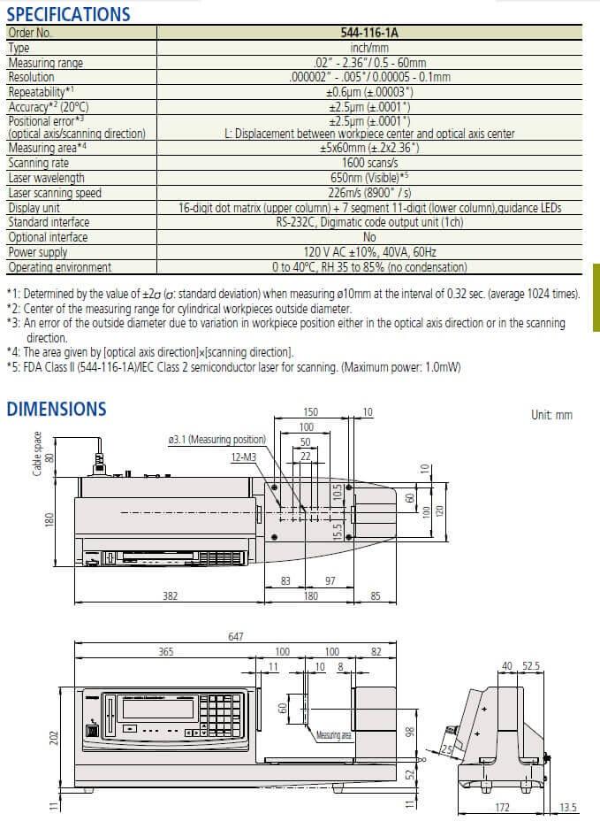 mitutoyo LSM-9506 Laser mic
