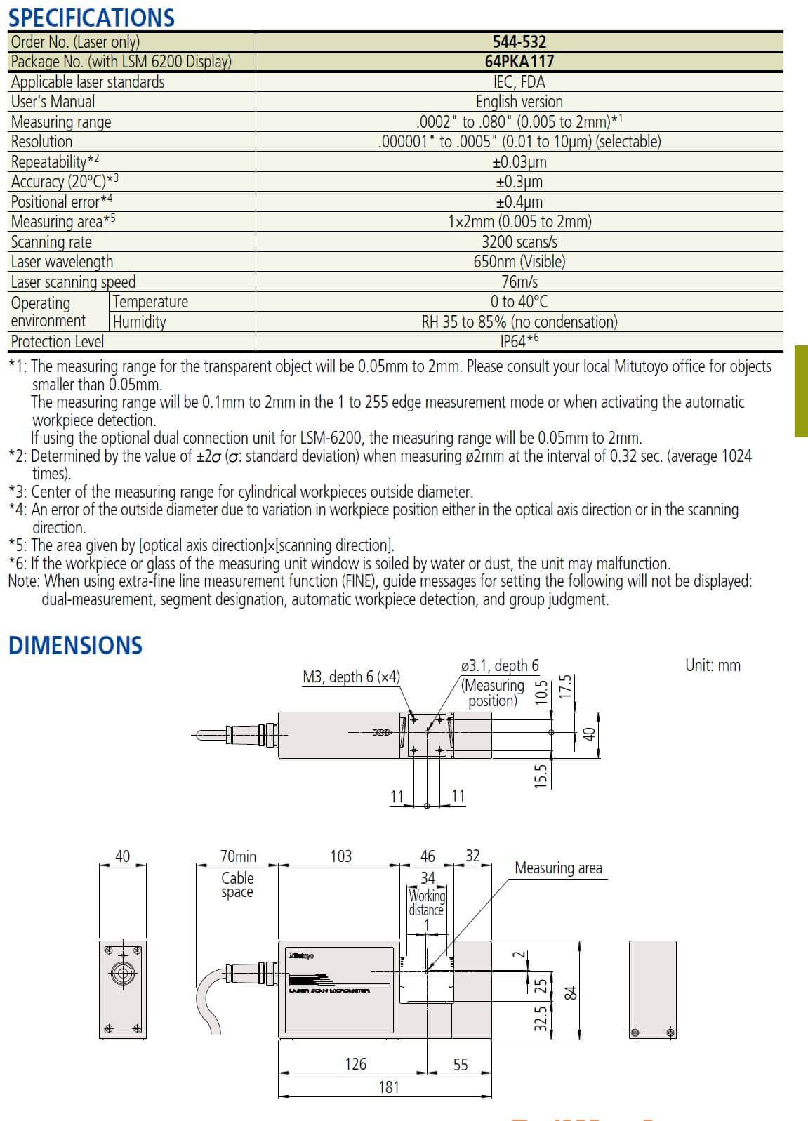 mitutoyo LSM-500S Laser micrometer