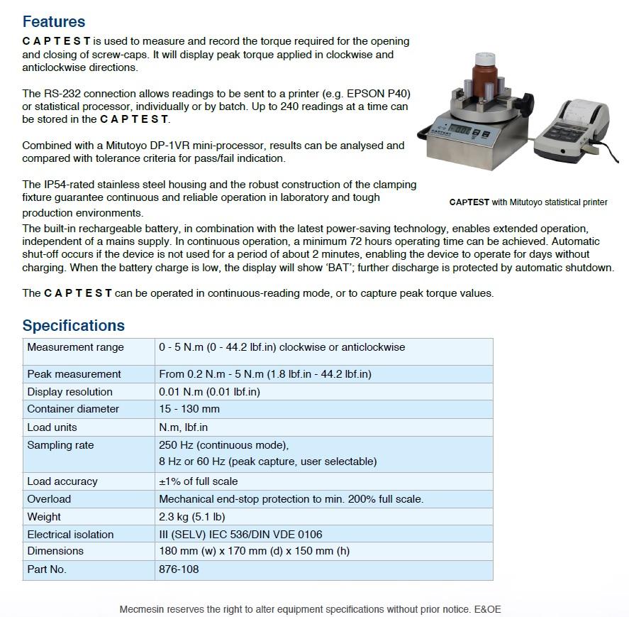 mecmesin -CAPTEST technical | Willrich Precision Instruments