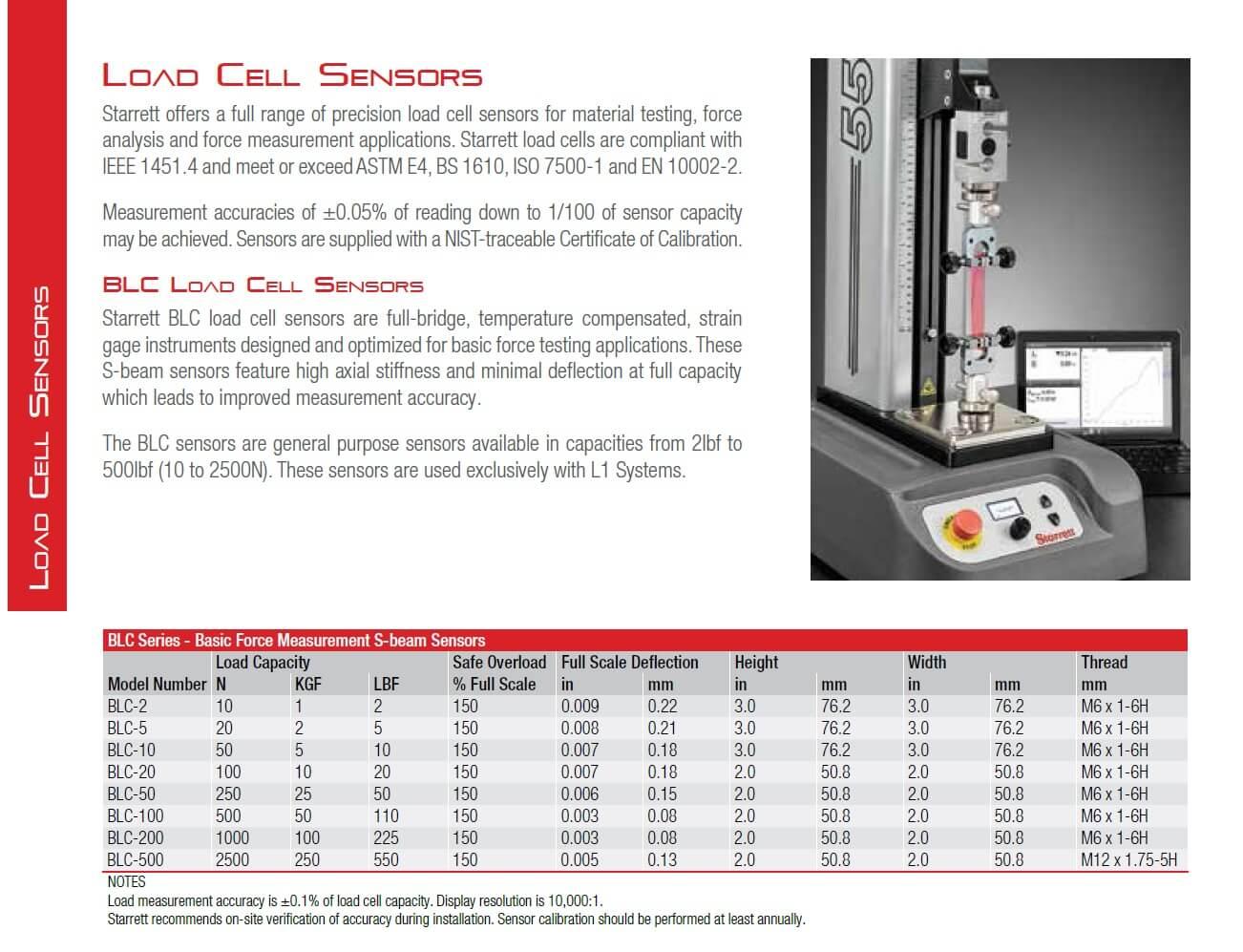 starrett blc force load cells