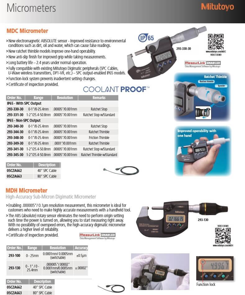 mitutoyo micrometers